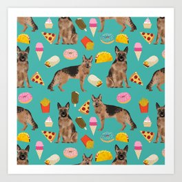 German Shepherd junk food pizza donuts ice cream burrito funny dog art pet portrait Art Print