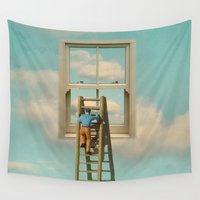 magritte Wall Tapestries featuring Window cleaner in the sky 02 by Vin Zzep