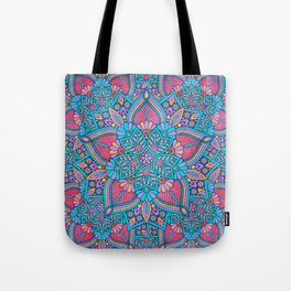 Pink and Turquoise Flower Mandala Tote Bag