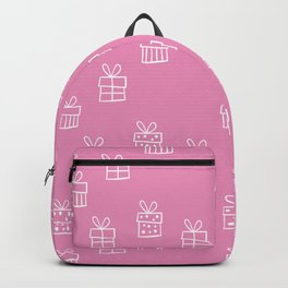 White Christmas gift box pattern on Hot Pink background Backpack