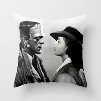 casablanca Throw Pillows featuring FRANKENSTEIN IN CASABLANCA by Luigi Tarini