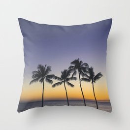 Palm Trees w/ Ombre Tropical Sunset - Hawaii Throw Pillow