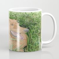 conan Mugs featuring Golden Retriever Conan by Yvonne Carter