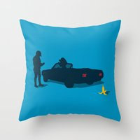 die hard Throw Pillows featuring Habits Die Hard by Vector Vectoria