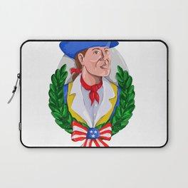 American Patriot Wreath Watercolor Retro Laptop Sleeve