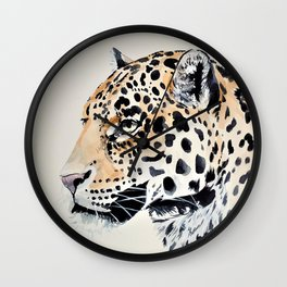 LEOPARD IN WATERCOLOR Wall Clock