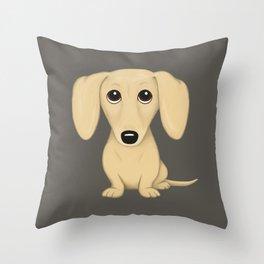 Shorthaired Cream Dachshund Throw Pillow