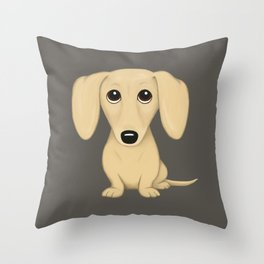 Shorthaired Cream Dachshund Cartoon Dog Throw Pillow