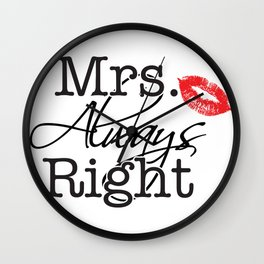 mrs. right with matching mr. right Wall Clock