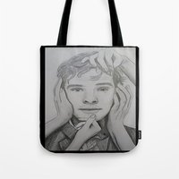 benedict Tote Bags featuring Benedict Cumberbatch by The Expression Studio
