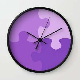 Pastel Ultra Violet Puzzle Pattern Jigsaw Pieces Wall Clock