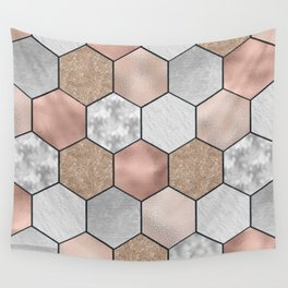 Marble hexagons and rose gold on black Wall Tapestry