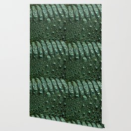Green Alligator Leather Print Wallpaper