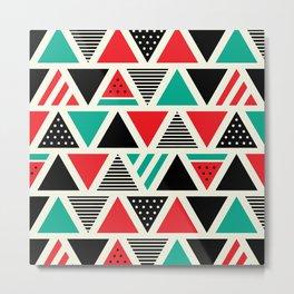 Watemelon Geometric Triangles Pattern Metal Print
