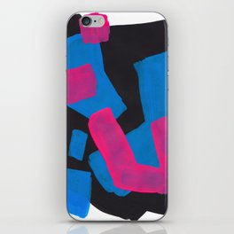 Minimalist Abstract Fun Mid Century Colorful Shapes African Tribal Pattern Magenta Blue Black Jazz iPhone Skin