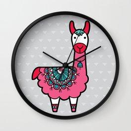 Doodle Llama on Grey Triangle Background Wall Clock
