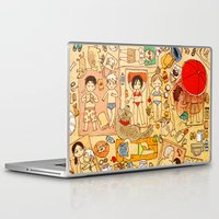 attack on titan Laptop & iPad Skins featuring Attack on beach by Aleksandra Chabros aka Adelaida