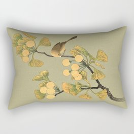 Bird in Ginkgo Tree Rectangular Pillow