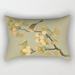 Bird in Ginkgo Tree Rectangular Pillow