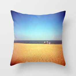 Three on the beach Throw Pillow