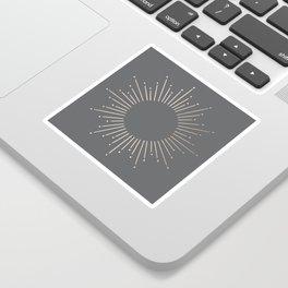 Simply Sunburst in White Gold Sands on Storm Gray Sticker