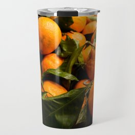 A Photo of Oranges with Green Stems Travel Mug