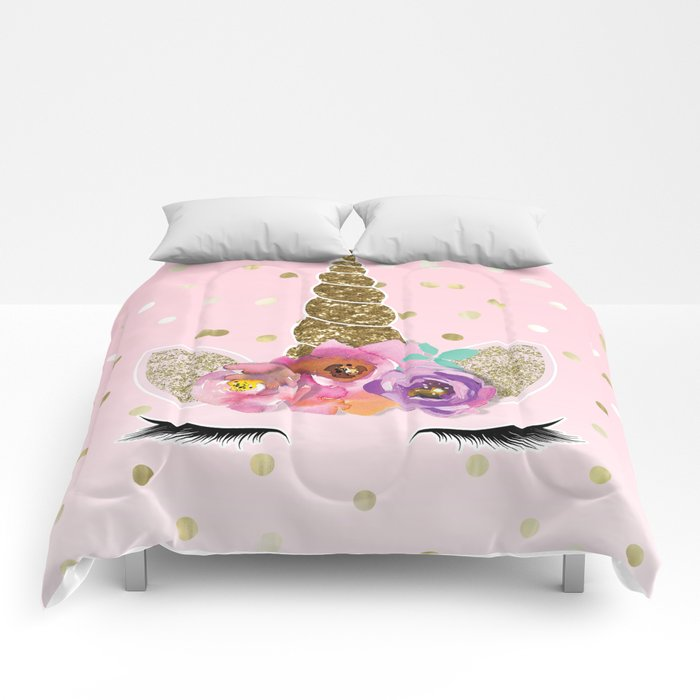 Floral Trendy Modern Unicorn Horn Gold Confetti Comforters by ... 36d1df0a20333