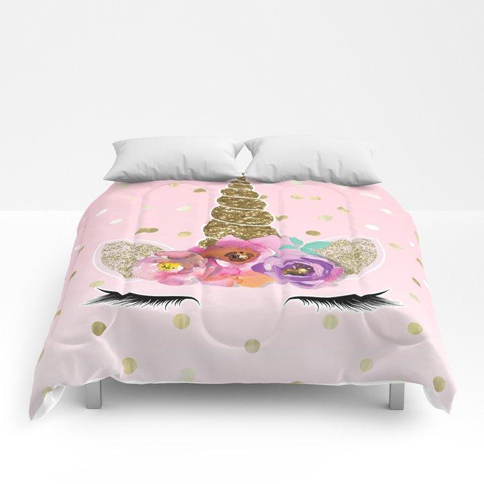 Floral Trendy Modern Unicorn Horn Gold Confetti Comforters