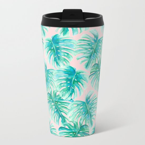 Paradise Palms Blush Metal Travel Mug