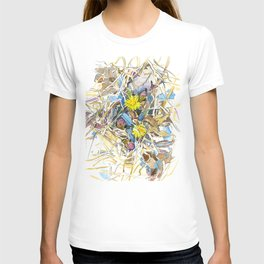ground beneath my feet in spring: coltsfoot, dry leaves, grass T-shirt