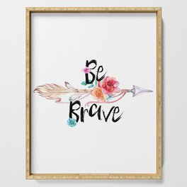 Be Brave Tribal Floral Watercolor Arrow Serving Tray