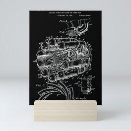 Jet Engine: Frank Whittle Turbojet Engine Patent - White on Black Mini Art Print