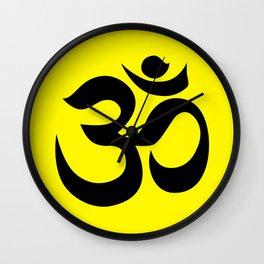 Black AUM / OM Reiki symbol on yellow background Wall Clock