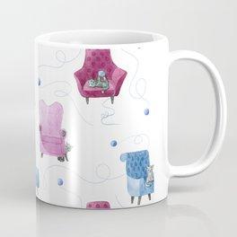 Cats & Comfy Chairs Pattern - Blue Yarn Coffee Mug