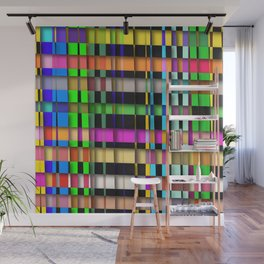 inclined coloured stripes with shadows Wall Mural