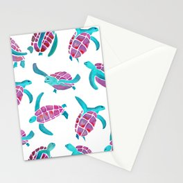 turtle watercolor pink and blue Stationery Cards