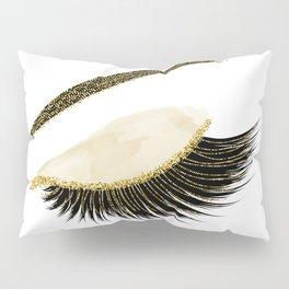 Glittery gold  lashes Pillow Sham