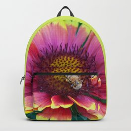 Red Sunflower with working Bee Backpack
