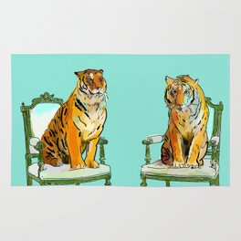 animals in chairs # 21 The Tigers Rug
