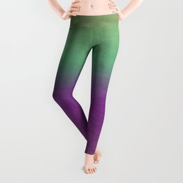 Plum Purple and Green Watercolor Abstract Leggings