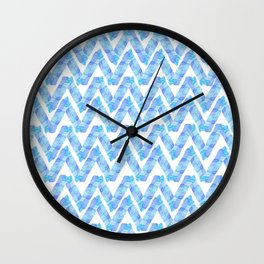 Abstract blue teal watercolor zigzag chevron pattern Wall Clock