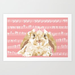 Bunny Composition (beige/pink) Art Print