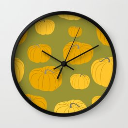 Autumn Pumpkins Green Wall Clock