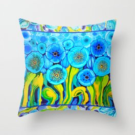 Field of Poppies with Border All Around Belize Throw Pillow