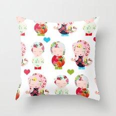 Dolls (White) Throw Pillow