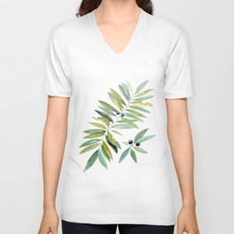 Leaves Berries Sage Green Turquiose Nature Art Floral Watercolor Unisex V-Neck