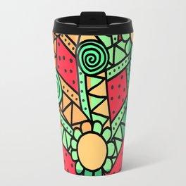 Doodle Art Flower - Pathways - Red Blue Travel Mug
