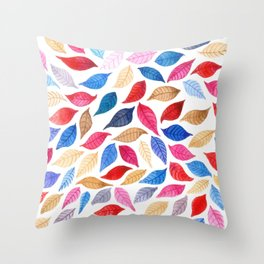 Colorful leaves pattern in watercolor Throw Pillow