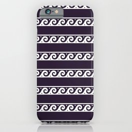 Purple and white Greek wave ornament pattern iPhone Case