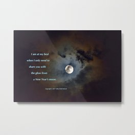 """Shadowy Moon #44"" with poem: New Year's Moon Metal Print"